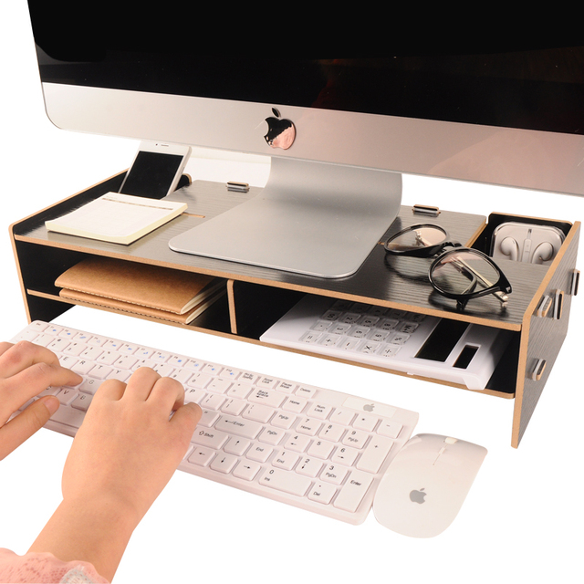Computer Monitor Increased Desk Base Stand Neck Protection Wooden Desktop Storage Box Office Shelves