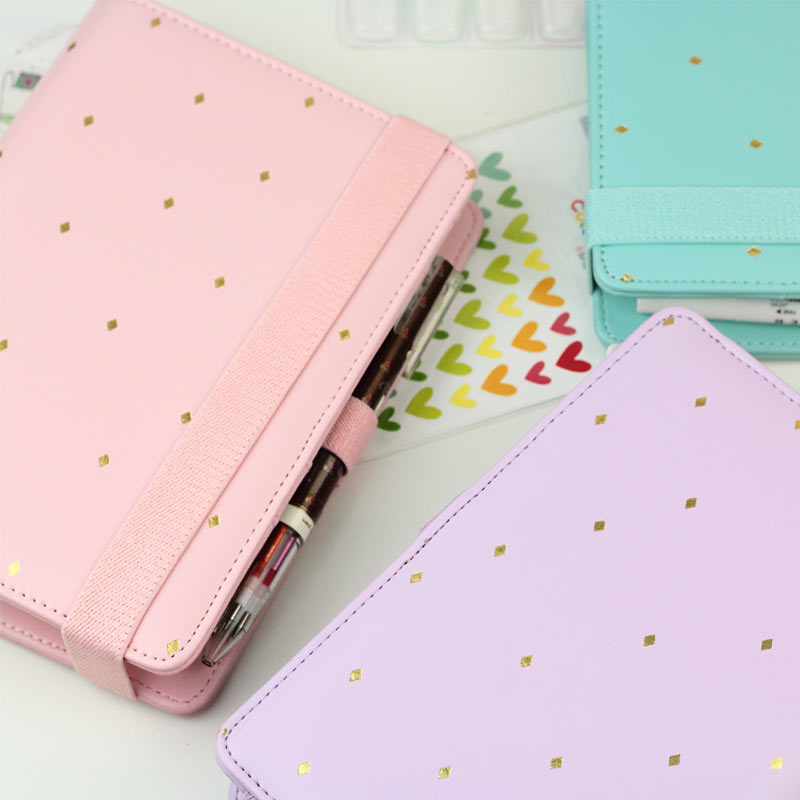 2016 New Arrive Star JM Polka Dot 6 loose leaf Notebook A5 A6 Organizer Planner With Elastic Bind Match book 2016 new arrive a5 a6 pu leather planner snap notebook with notebooks writing pads office