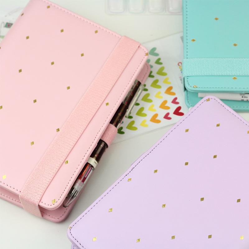 цена на 2016 New Arrive Star JM Polka Dot 6 loose leaf Notebook A5 A6 Organizer Planner With Elastic Bind Match book