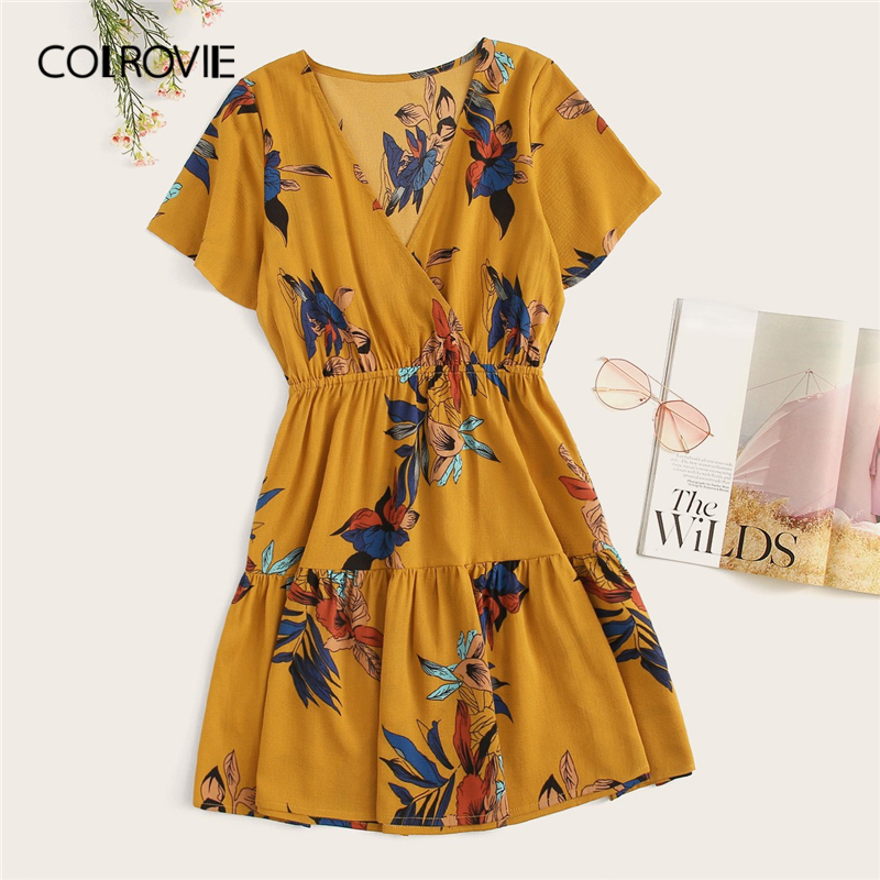 COLROVIE Ginger V Neck Floral Print Wrap Front Vacation Dress Women 2019 Summer Short Sleeve Ruffle Hem Beach Dresses For Ladies