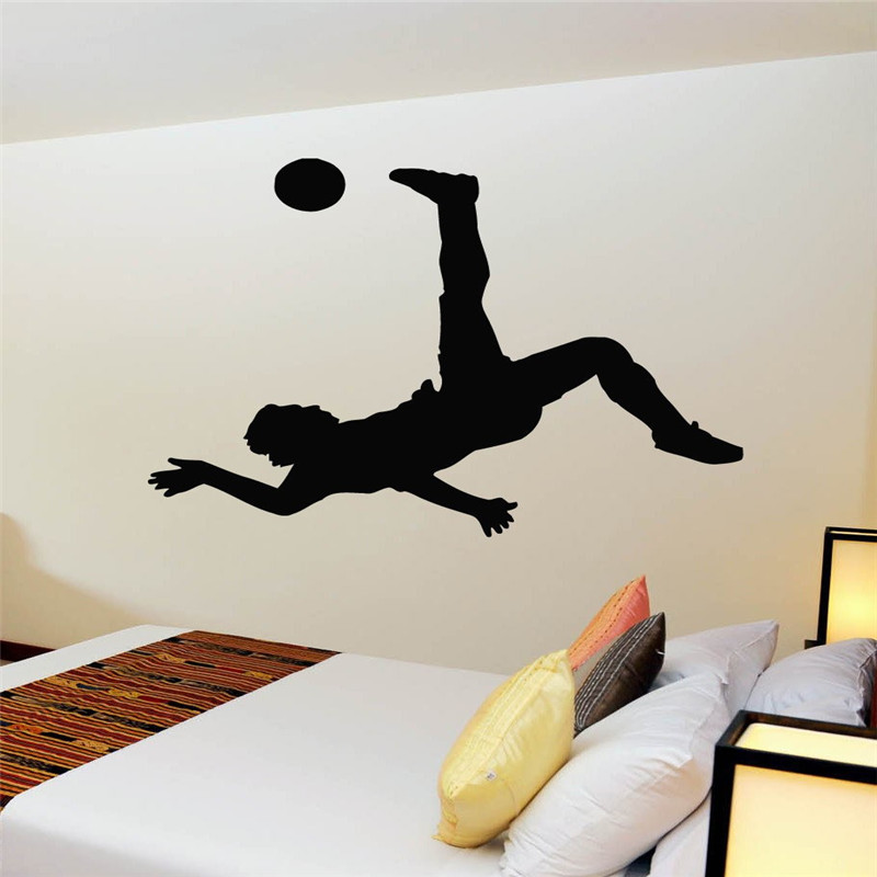 Football Player Sticker Sports Soccer Decal Helmets Girl Kids Room Posters Vinyl Wall Decals Football Sticker