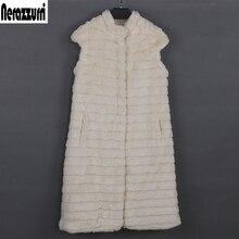 フェイクファーのベストの女性の高級大型スタンド襟ベージュストライプチョッキ偽ミンクの毛皮ジレノースリーブジャケット xxxl Nerazzurri