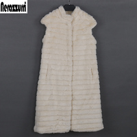 Nerazzurri faux fur vest women luxury large size stand collar beige striped waistcoat fake mink fur gilet sleeveless jacket 5xl