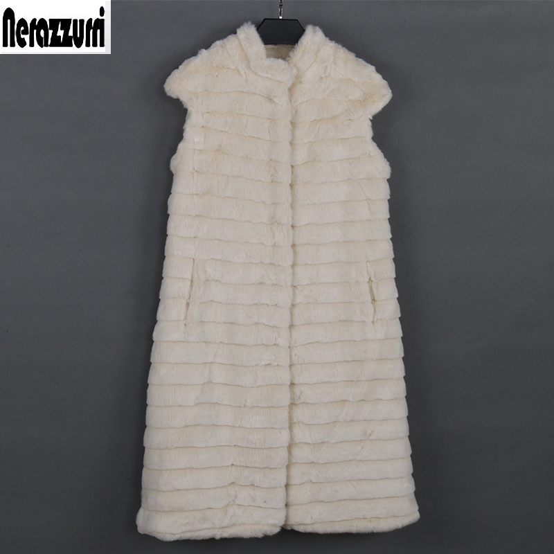 Nerazzurri Faux Fur Vest Women Luxury Large Size Stand Collar Beige Striped Waistcoat Fake Mink Fur Gilet Sleeveless Jacket Xxxl
