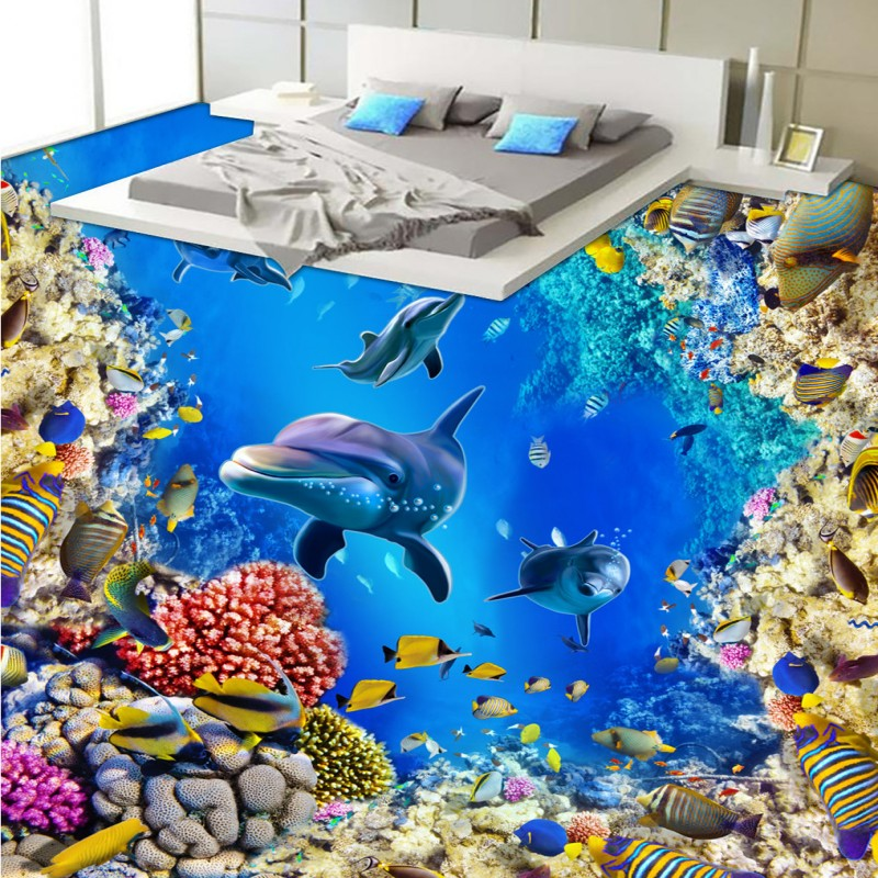Free Shipping Toilet Bedroom 3D Dolphin Coral Tropical Fish non-slip self-adhesive floor wallpaper mural