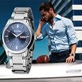 Amantes Eyki 2017 Nuevas Mujeres de Los Hombres de Negocios Reloj de Acero Inoxidable Relojes de Pulsera de Lujo Marca Pareja Reloj con Calendario montre femme