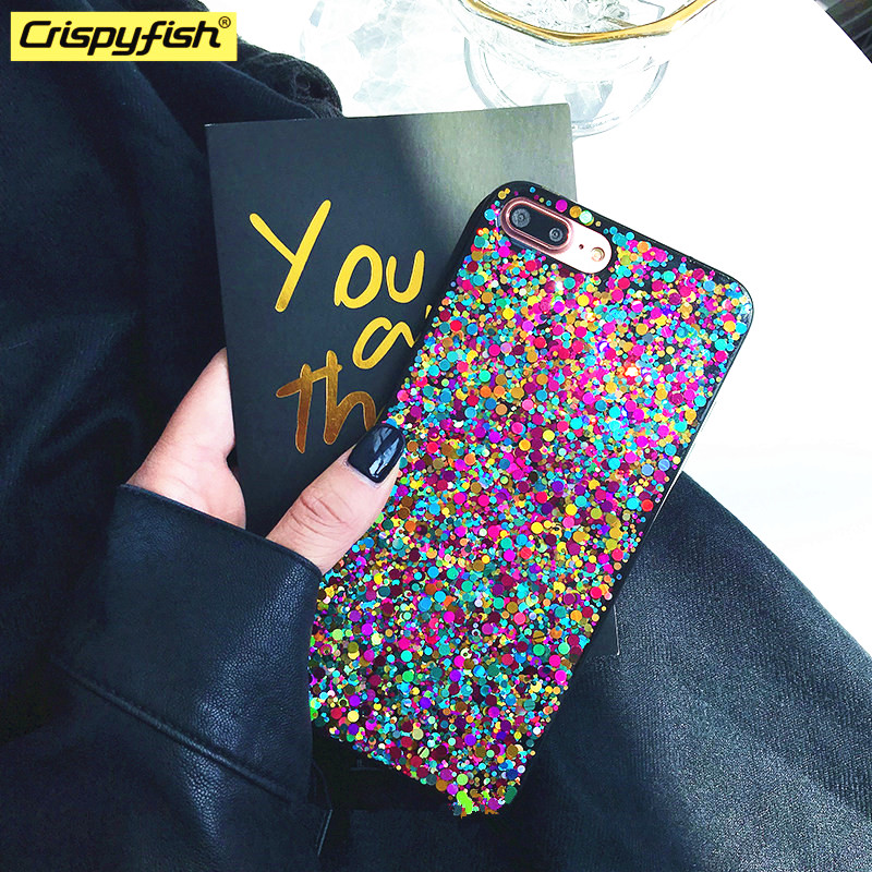 Crispyfish Glitter Rainbow Soft TPU Silicone Phone Case For IPhone 6 6s 7 8 Plus Shiny Cases For Iphone X XR XS MAX Cover For 11 Pro Max