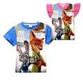 Zootopia crianças T-shirt bonito dos desenhos animados adorável coelho da raposa de algodão crianças meninos partes superiores das meninas roupas de Verão t-shirt curto para 4-12yrs