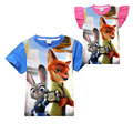 cartoon cute zootopia kids T-shirt lovely rabbit fox cotton Summer short  t-shirt for 4-12yrs children boys girls tops clothes