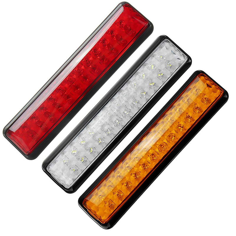 1Pair 24LED Side Lamp 12V Truck Trailer Lorry Tail Lights Red Yellow White Stop Turn Signal Reverse Light