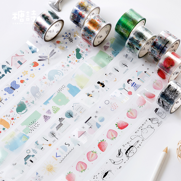 Wonderful World Series Decorative Adhesive Tape PET Masking Washi Tape DIY Scrapbooking Sticker Label Japanese Stationery