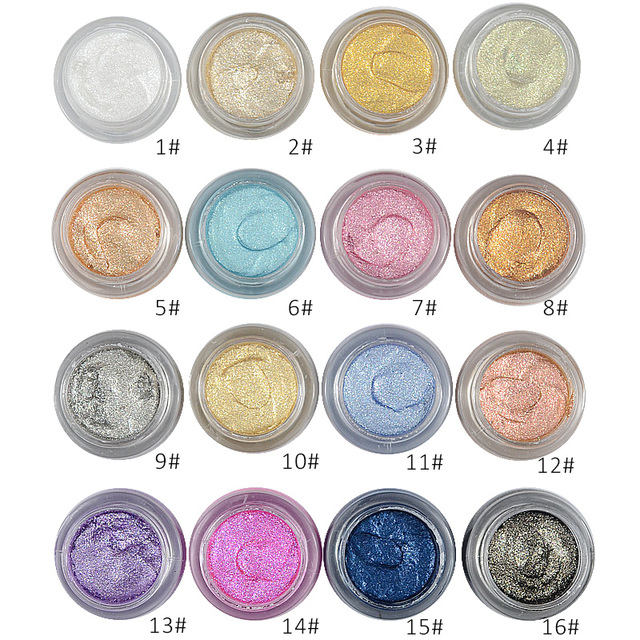 LOVE ALPHA 16 Colors Eye Shadow Professional Eyes Makeup Glitter Single Color Eyeshadow Gel Party Brand Cosmetics Flash Powder