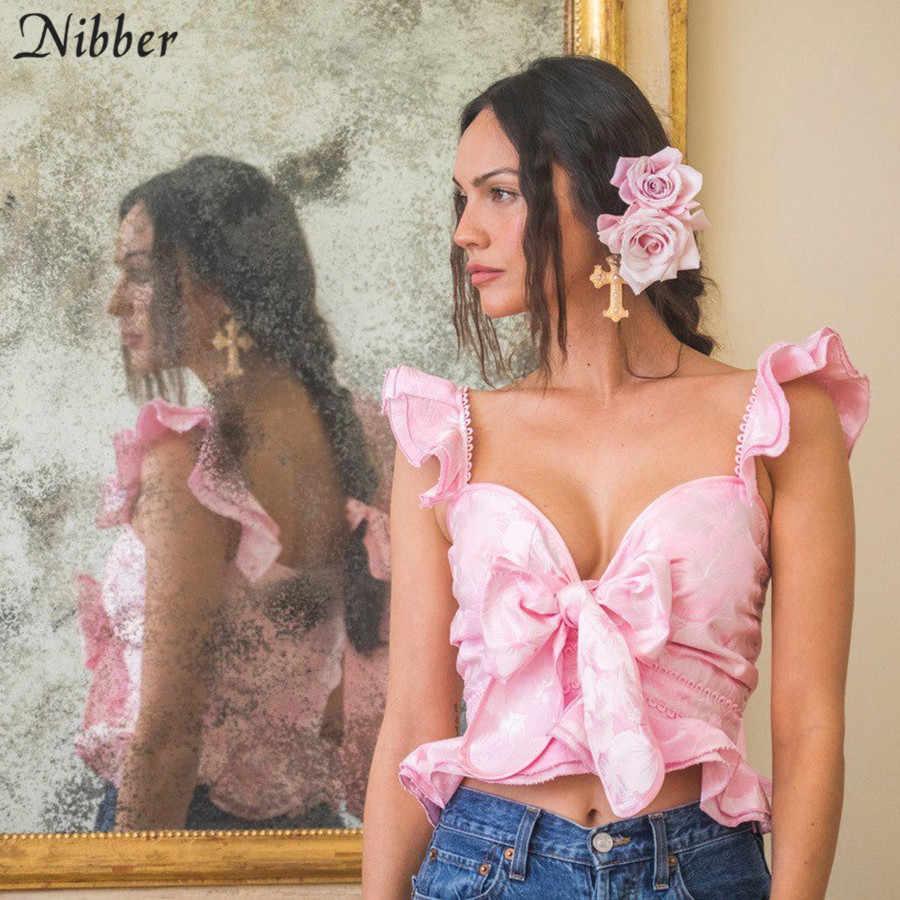 Nibber élégant rétro col en v crop hauts femmes camisole mode d'été rose à lacets bow t-shirts sexy club fête porter des hauts de réservoir de rue