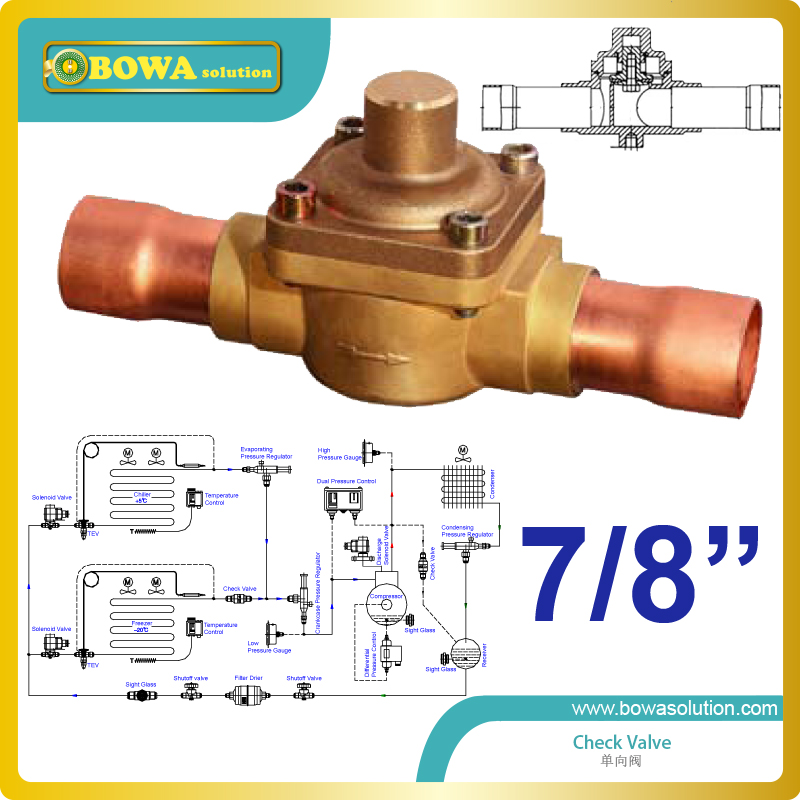 7/8 Plunger Check Valve with extension Tube can be used in commercial refrigeration system, domestic and industrial chiller 3 8 check valve with solder connection for bus air conditioner and refrigeration truck replace sporlan check valve
