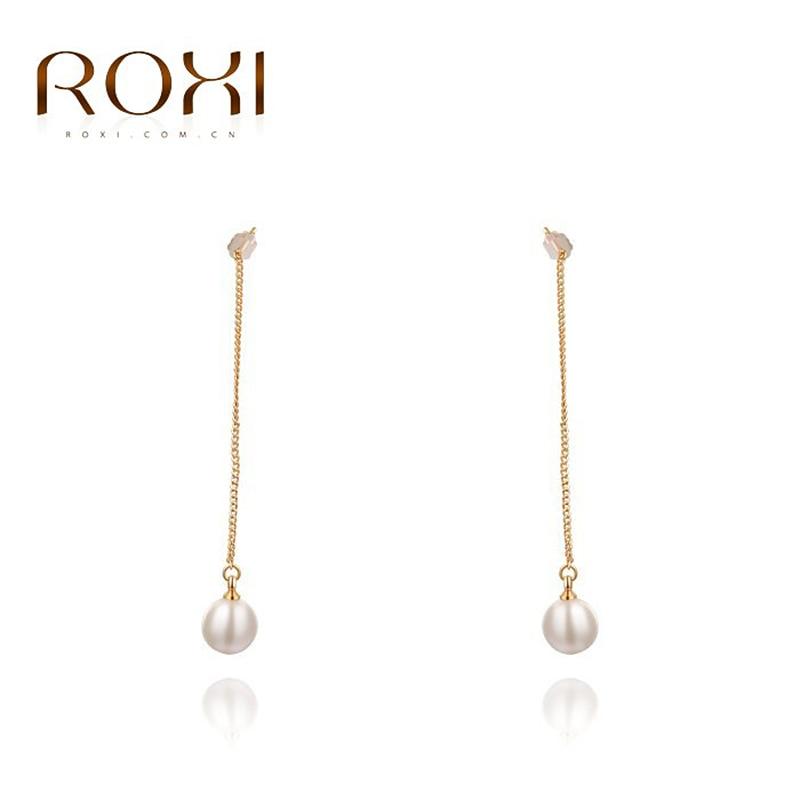 ROXI Brand Rose Gold Color Earring Big Long Pearl Drop Earrings Fashion Jewelry For Women Wedding Earrings