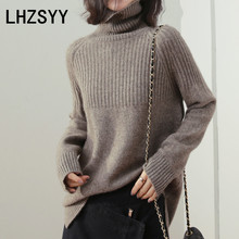 LHZSYY Cashmere sweater Autumn Winter New Womens Solid color Turtleneck Sweater Fashion Large size Warm Wild Wool Knit Pullover