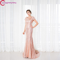 Bridesmaid Dresses In Stock Size 2 16 As Pic Color Long Mermaid Short Sleeve Bridal Sequined Party Gowns Skirt