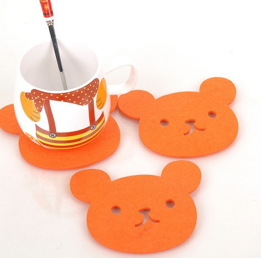 8pcs/lot 11.5*9cm creative household supplies Little bear shape felt cute button coasters Cup mat 8pcs/lot 006002004