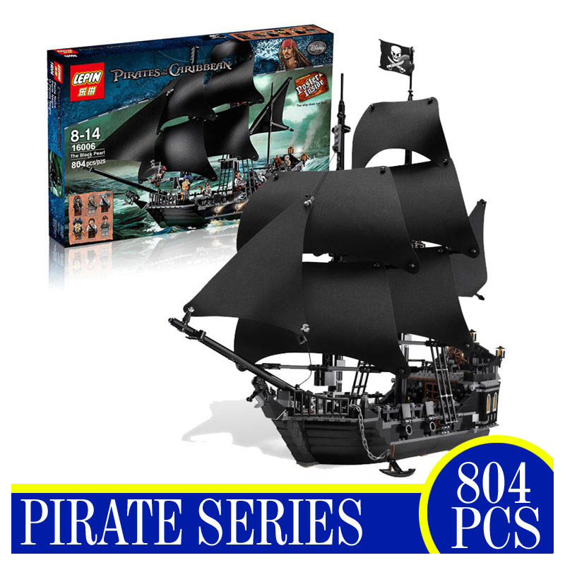 16006 804pcs Building Bricks Pirates Of The Caribbean The Black Pearl Ship Model Bricks Toys Children Gift Compatible LEPIN 4184 kazi 1184 pcs pirates of the caribbean black pearl ship large model christmas gift building blocks toys compatible with lepin