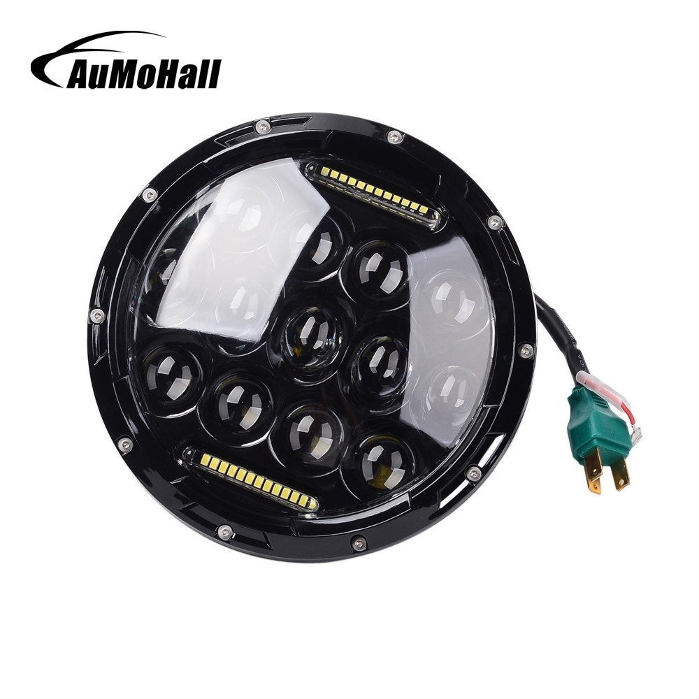 AuMoHall 2 pcs Black Cover 7 Inch 75W Hi/Lo Beam LED Car Headlight DRL 12V 24V Waterproof Driving Head Light