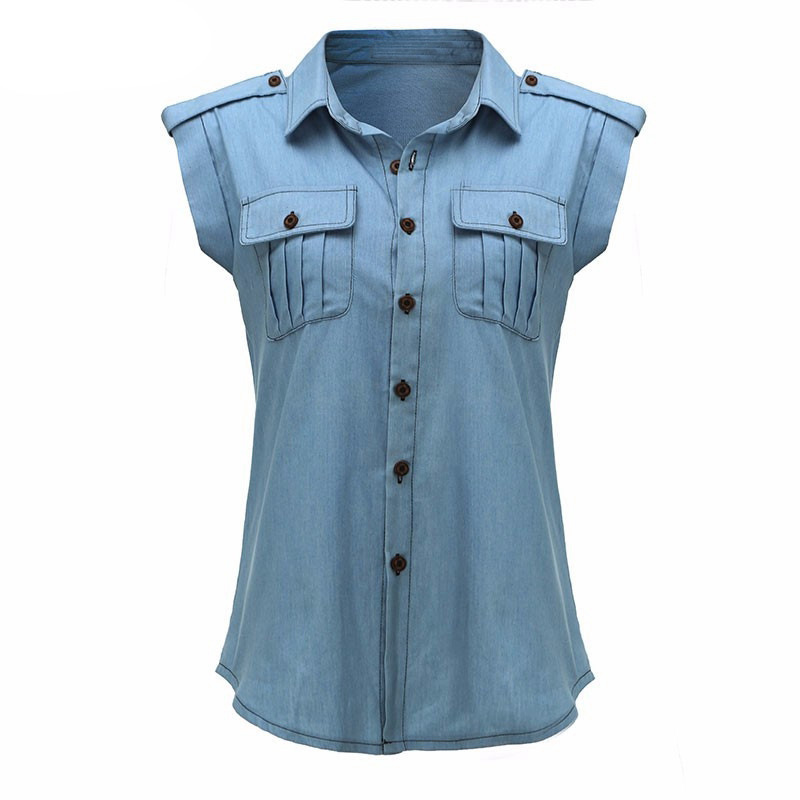 Yuerlian Sleeveless Denim Shirt Women Turn Down Collar Button Pocked Jeans Top Cover 2017 Summer Lady Sleeveless Blusas Chemise
