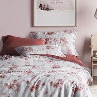 Chausub новое качество Шелковый Постельное белье 4 шт. сатин хлопок одеяло комплект Обложка печати простыни наволочка король Queen Размеры кроват