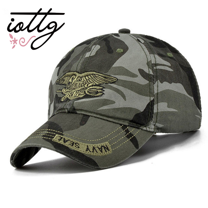 IOTTG New Men Navy Seal Cap Top Quality Army green Snapback Caps Fishing Hat Camo Baseball Caps Adjustable Bone fashion rivets cotton polyester fiber men s flat top hat cap army green