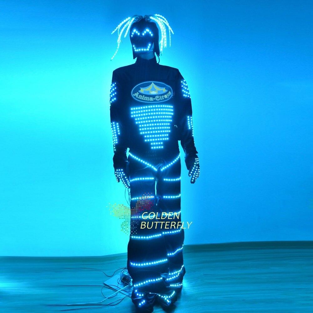 LED Clothing Glowing Clothes Masks Fashion Luminous Talent Show Men's LED Suits Ballroom Mechanical Dance Dress Accessories