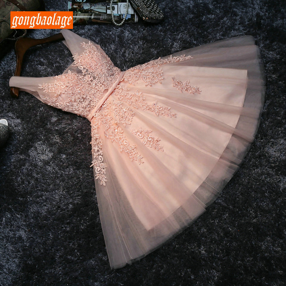 Elegant Pearl Pink Short   Prom     Dresses   2019 Sexy Gray   Prom     Dress   Scoop Tulle Appliques Pearls Lace Up Girl Graduation Party Gown