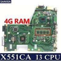 KEFU X551CA материнская плата для ноутбука ASUS X551CA X551CAP X551C X551 F551C F551CA Тесты Оригинал материнская плата I3 Процессор 4 г Оперативная память без слот