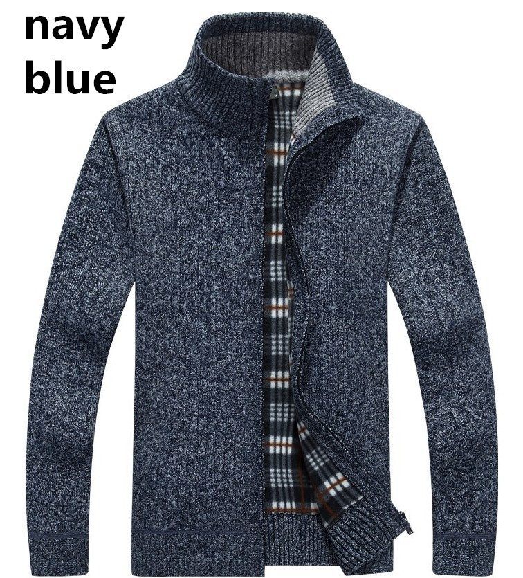 High Quality Winter Thick Sweatshirts Men Streetwear Outerwear Zipper Coat Weave Cotton Linen Jacket Stand Collar Plus Size