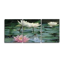 Laeacco Modern 3 Panel Wall Artwork Lotus Flower Garden Posters and Prints Canvas Paintings Calligraphy Home Living Room Decor