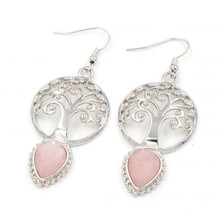 FYJS Unique Women Jewelry Silver Plated Tree of Life Water Drop Natural Rose Pink Quartz Earrings