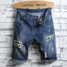 2019 Summer New Top Men Jeans Shorts,Blue Color Fashion Designer Short Ripped For Denim Shorts Knee Length Hole
