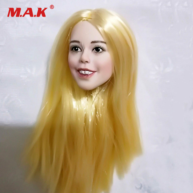 1 6 Scale female straight hair heads smiling Big tooth carving Head Sculpt 1  6 Action Figure Head Juguetes Gift Toys Bonecos 71e8cb01bbb5