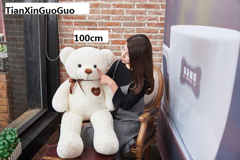 100% new toy stuffed fillings large 100cm white teddy Bear,love bear doll soft throw pillow Christmas gift b0908 stuffed animal 120 cm cute love rabbit plush toy pink or purple floral love rabbit soft doll gift w2226