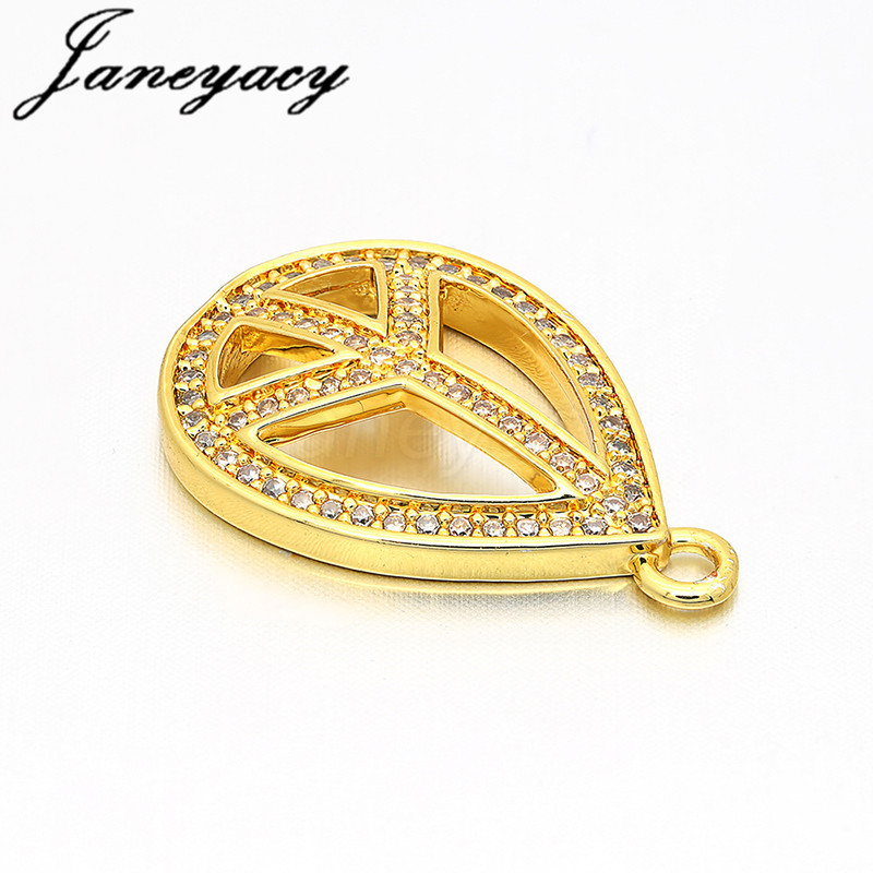 Janeyacy European Fashion Jewelry Brass Cubic Zircon Accessories Peace Symbol Pendant DIY Jewelry Earrings Bracelet Production in Jewelry Findings Components from Jewelry Accessories