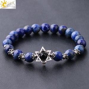 Женские и мужские браслеты CSJA, из натурального камня, с шестиугольной звездочкой Давида лаписа, циркония, 8 мм, с драгоценными камнями, F827