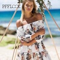 Pfflook 2017 새로운 여성의 비치 드레스 레이스 여름 여성 스타일 짧은 소매 조절 끈이 어깨 인쇄 의류