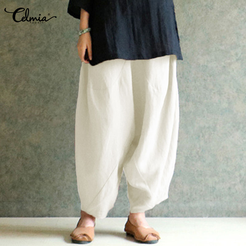 Celmia Women Vintage Cotton Linen   Wide     Leg     Pants   Casual Elastic Waist Pockets Loose Harem   Pant   Solid Trousers Plus Size Pantalon