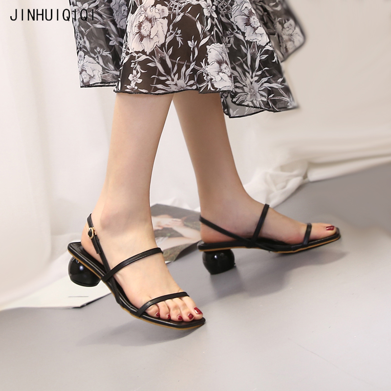 Summer sandals ladies high heels Comfortable low-heeled shoes fashion gladiator sandals women Round heel chunky heels