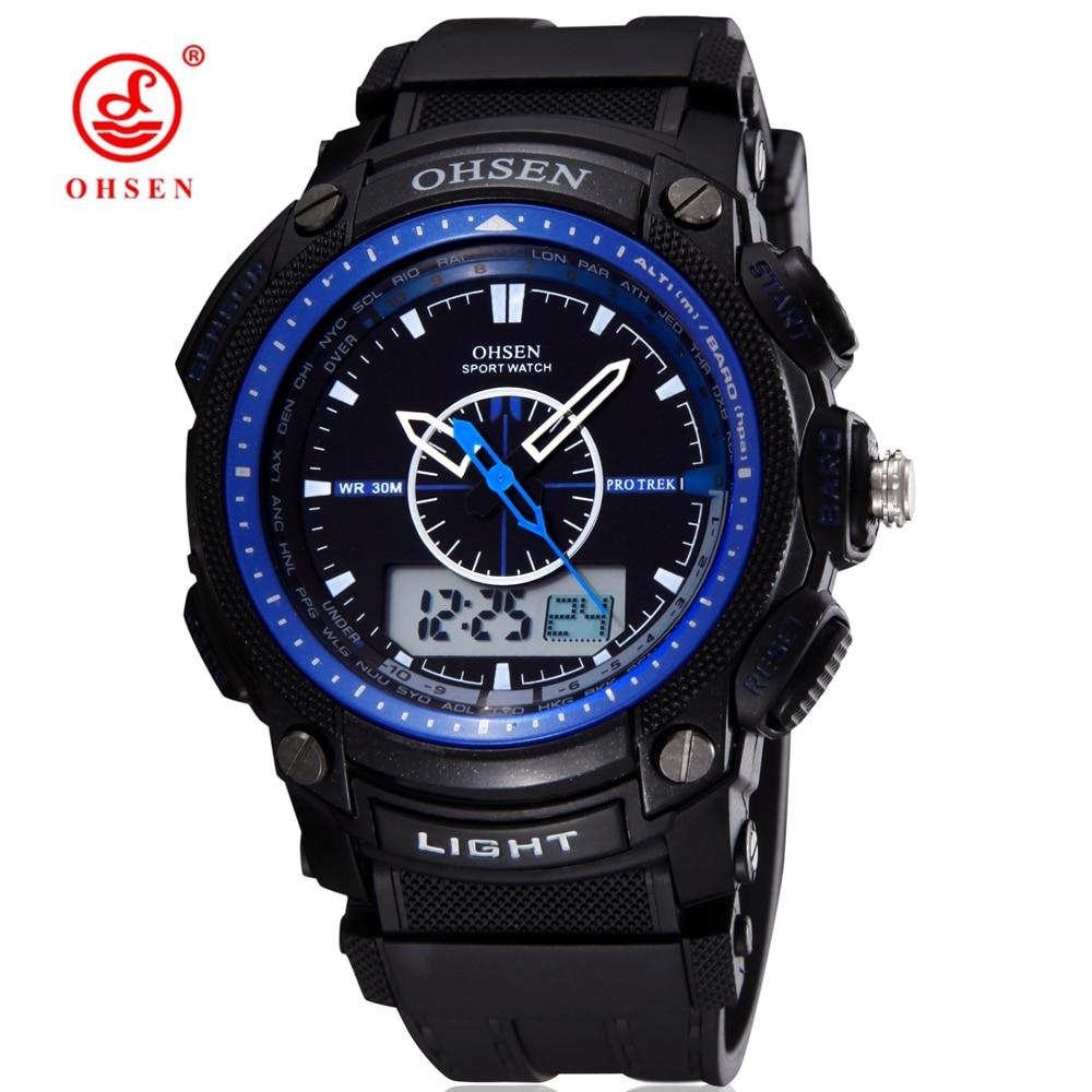 cd86b09b603e Marca de moda ohsen ejército mens reloj deportivo alarma impermeable LED  luz trasera goma hombre Relogio SAAT