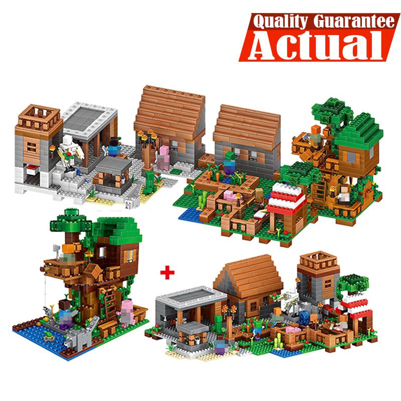 LELE 33068 1516PCS My World Minecraft The Village & Jungle Tree House action figures Building Block Bricks Toy For Children Gift lepin minecraft 504pcs the forest secret my world figures building blocks bricks fun castle house toys for children gifts