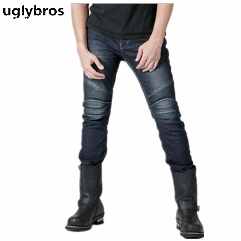 2017 fashion straight Uglybros jeans motocross moto pants men's motorcycle jeans motorcycle protection pants 2017 new fashion men slim fit stretch biker jeans patchwork elastic white jeans pants for motorcycle famous brand size 28 to 38