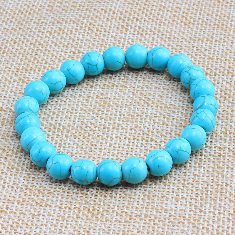 8 Gaya Batu Permata/Merah Tiger Batu/Hijau Emas/Turquoises/Imitasi Damar Stone Manik-manik Gelang untuk wanita Pria Gelang Manik Perhiasan
