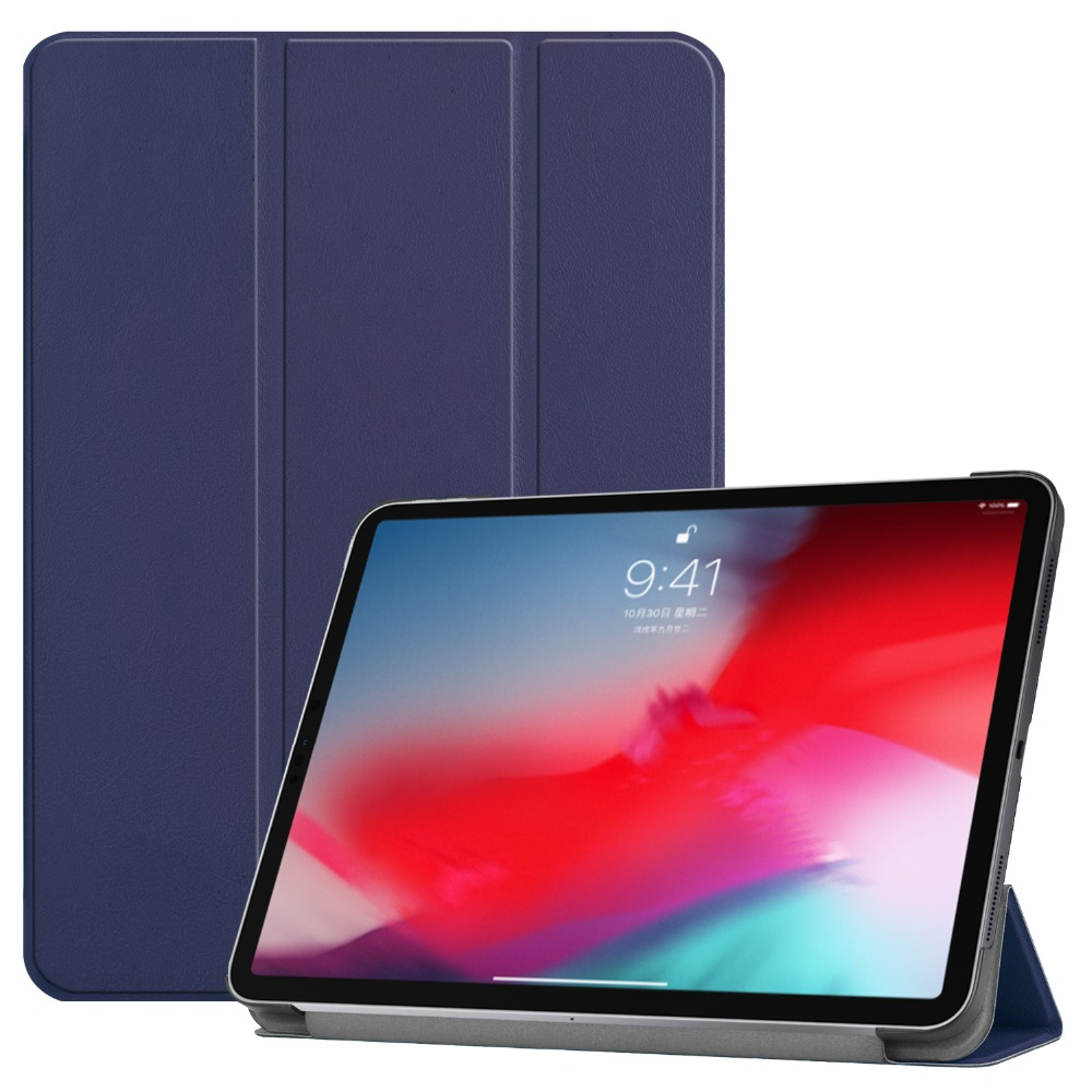 Cover Case For Ipad Pro 11 Color PU Leather PC Back Ultra Slim Light Weight Trifold Smart Cover Case 2018