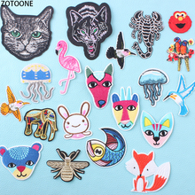 ZOTOONE Colorful Animal Flamingo Patches for Clothing Embroidered Patch Clothes Stripe Garment Application Sticker Appliques