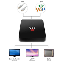 1.5GHZ HD Media Player 1G RAM 8G ROM Quad Core 4 USB WiFi Full Loaded  V88 4K Android 6.1 Smart TV Box Rockchip