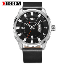 CURREN Gear Dial Design Calendar Display Black Genuine Leather Belt Military Mens Sport Watch Top Brand Luxury Quartz Male Clock
