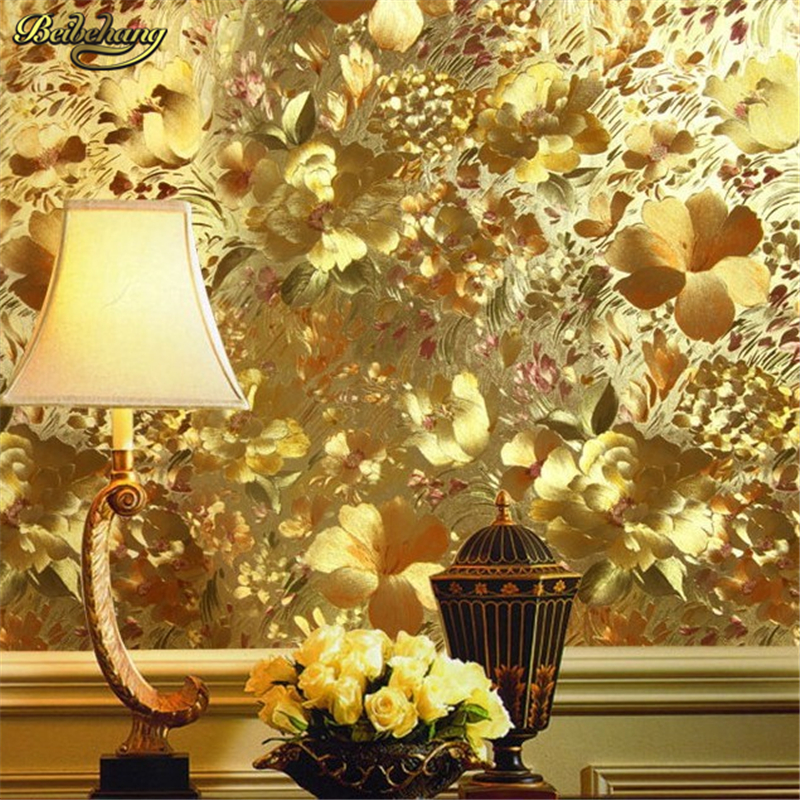 beibehang embossed feature background wall wallpaper for living room ceiling papel de parede 3d Floral gold foil wallpaper gold custom wallpaper ceiling murals palm blue sky for the living room ceiling apartment hotel background wall vinyl papel de parede